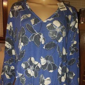 NWT,Lane Bryant, Sz. 18/20, blue, blk & wht floral